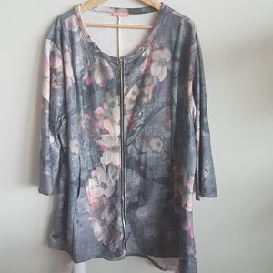 Simply Aster Floral Zip Up Sweat  Size 4XL